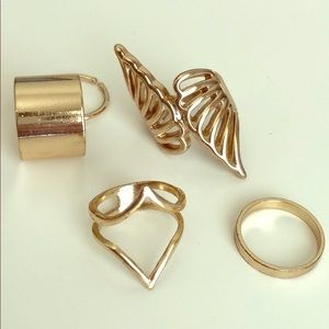 Gold statement rings bundle; wings, chunky, thin